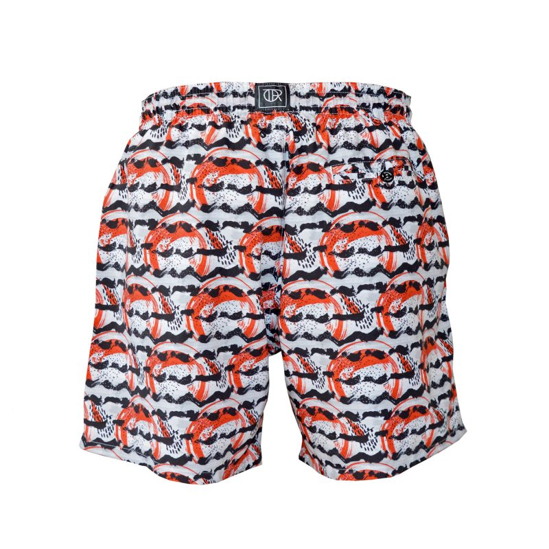 fire swim shorts back