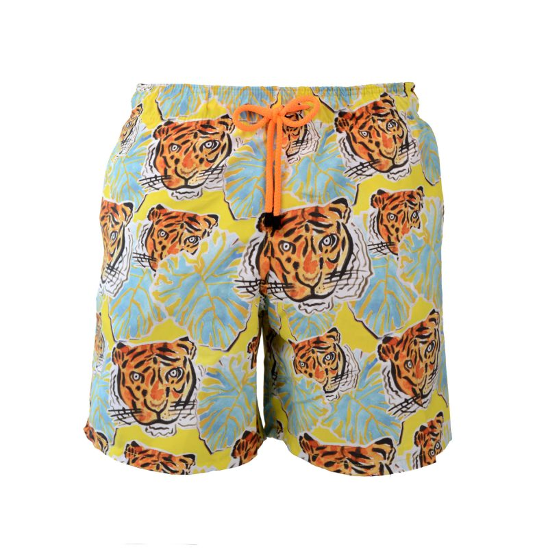 yellow tigers swim shorts front